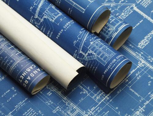 rolki z planami budowy